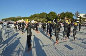 Ironman 70.3 Mallorca pre-swim warm-up