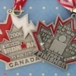 Ironman Triathlon average time -two Ironman Canada finisher medals